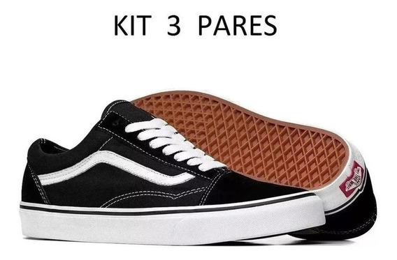 Kit 3 Pares tenis Novo Vans Feminino Masculino Casual Skate
