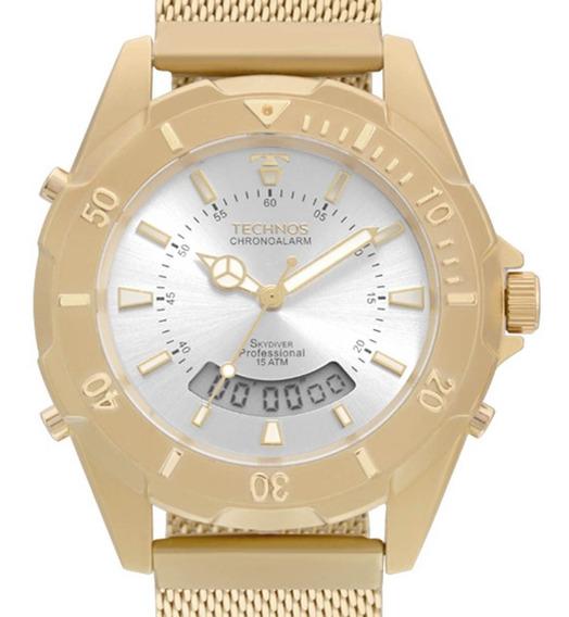 Relógio Technos Feminino Skydiver Dourado T205jf/4k C/ Nf-e