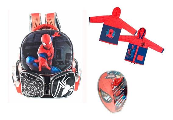 Mochila 3d Spiderman 12 Pulgadas+ Piloto+ Utiles