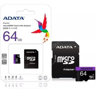 Memoria Sd Micro Sd 64gb Clase 10 Adata Adaptador Sd