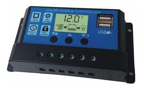 Controlador De Carga Painel Pwm Solar Usb Lcd 30a 12v/24v