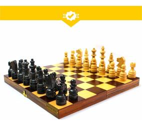 Conjunto Para Xadrez Estojo Em Madeira