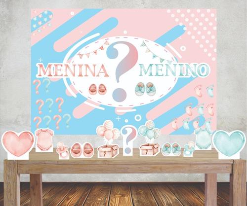 Imagem 1 de 5 de Kit Painel Poli Banner + Displays Festa Chá Revelação