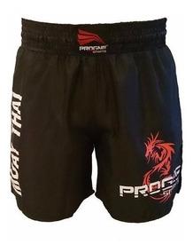 Bermuda Muay Thai Progne Preto Short Calção Original