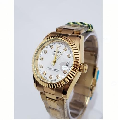 Relógio Unissex Golden White Todo Em Aço
