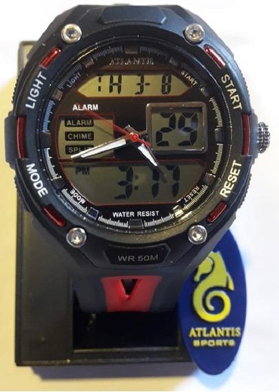 Relógio Digital Atlantis Preto E Vermelho - G7414