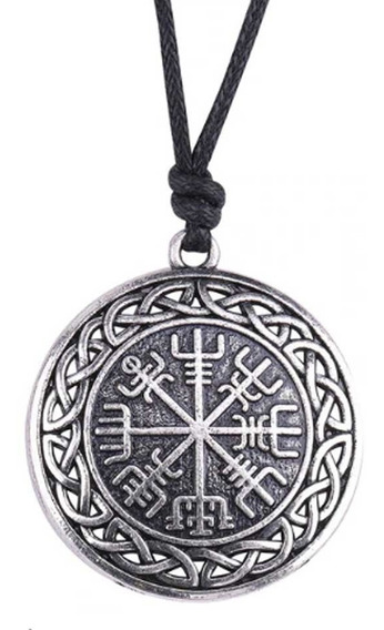 Colar Viking Bussola Runas Tribal Cordao Pingente Vikings
