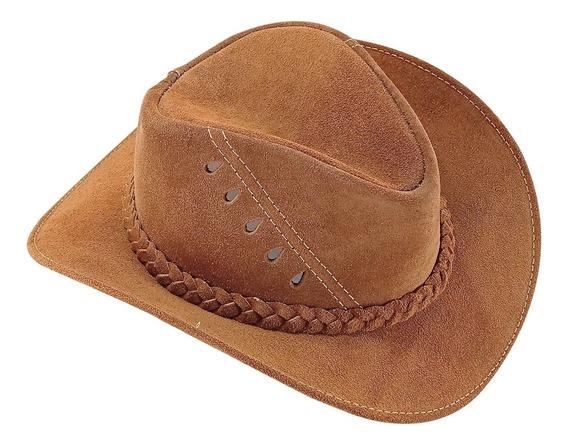 Chapéu Adulto Infantil Couro Bebê Menino Cowboy Australiano