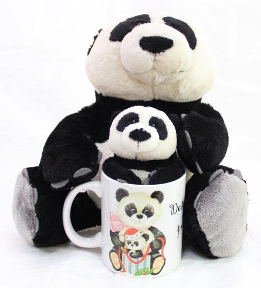 Urso Panda 35cm + 15cm + Caneca Natal Presente Amigo Secreto