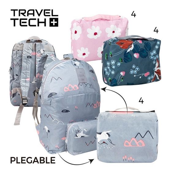 Mochilas Plegables Livianas Travel Tech Estampadas