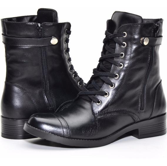 Bota Coturno Feminino 100% Couro Cano Medio Rock Atron Shoes