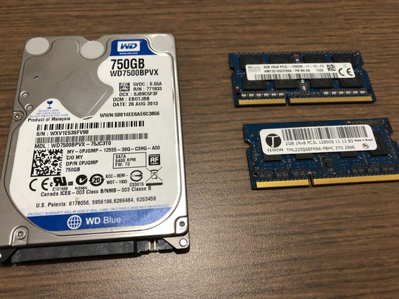 Hd De 750gb E 6gb Memoria Ram Ddr3 Para Notebook Wd Blue