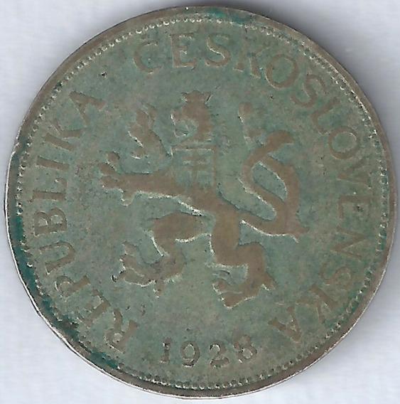 Checoslovaquia 1928 5 Korun Moneda De Plata Xx4019