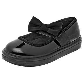 Zapatos Escolar Flats Chabelo Dama Sintético Negro Dtt 37258