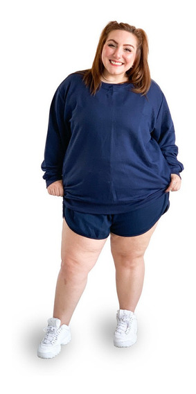 Blusa Moletom Plus Size Marinho Wonder Size Ju Romano