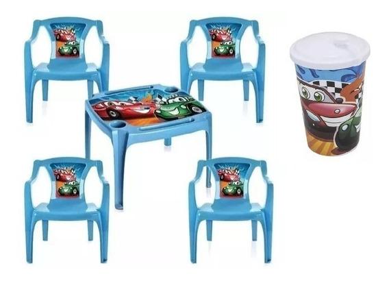Promoção Mesa Infantil 4 Cadeiras Azul Carros Menino +brinde