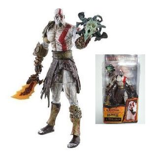 Kratos In Golden Fleece Armor With Medusa Head Neca
