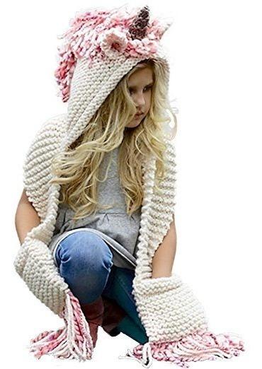 Gorra Bufanda Con Bolsillos Unicornio Crochet Invierno Niña