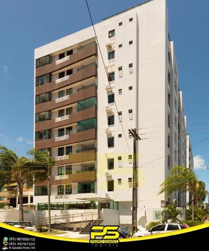 Oportunidade, Apartamento, 02 Quartos, 01 Suítes, Piscina, 59,18m², Por Apenas R$ 420.000,00, Em Cabo Branco, João Pessoa - Paraíba. - Ap2797