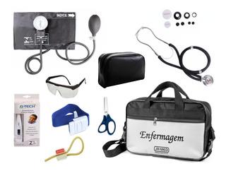 Kit Enfermagem Aparelho De Pressão Preto + Esteto Completo