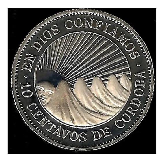 Nicaragua 1972 10 Centavos De Córdoba Proof Solo 20 Mil
