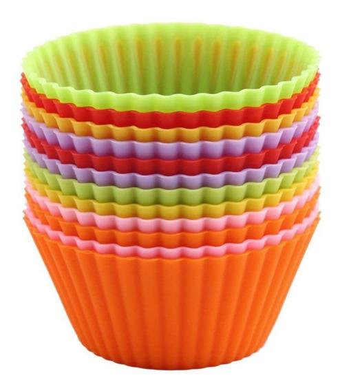 Molde Muffins Silicona Individual X12 Unidades Goma Cupcakes