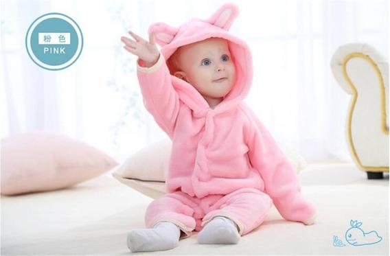 Macacão Bebê Bichinho Fantasia Rosa Infantil -envio 24 H
