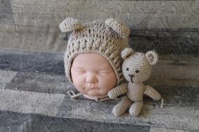 Touca De Urso E Ursinho Amigurumi P/ Fotografia Newborn
