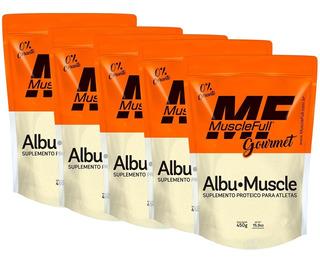 5x Albu Muscle Pura Com Sabor Zero Corante 450g Muscle Full