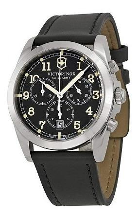 Relógio Victorinox Swiss Army Preto/couro/cinza Cronógrafo