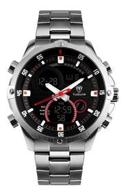 Relógio Masculino Tuguir Tg1146 Anadigi Prata E Preto Com Nf