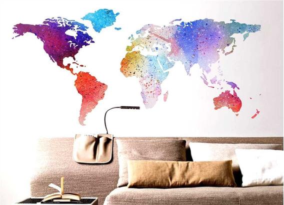 Vinilo Decorativo Mapamundi Colores Acuarela Planisferio
