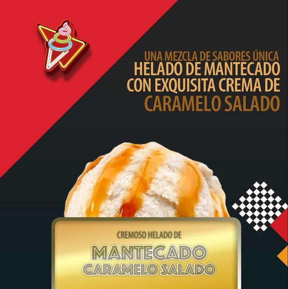 Helado De Mantecado Con Caramelo Salado. Crema Paraíso