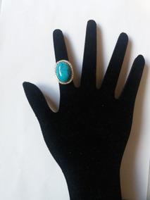 Promoção Anel Prateado Oval Com Pedra Azul E Strass Brancos