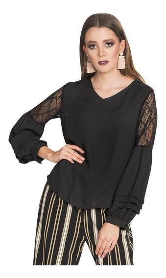 Blusas Dama Casuales Moda Transparencias Negro N83220
