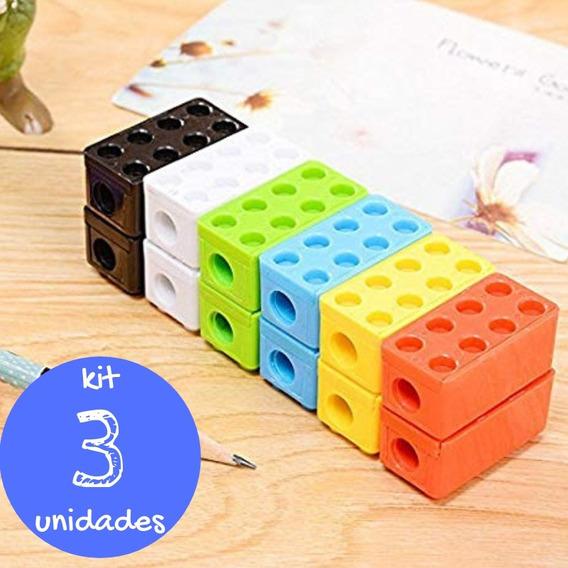 Kit Apontador Lego Lápis Estojo Quadrado Blocos Montar 3u