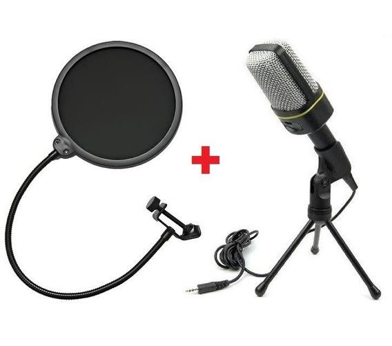 Microfone Condensador + Pop Filter + Monopod