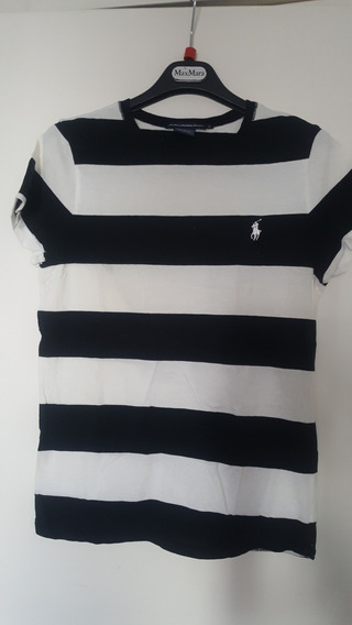 Remera Polo Ralph Lauren Impecable T L Chico Negro Y Blanca