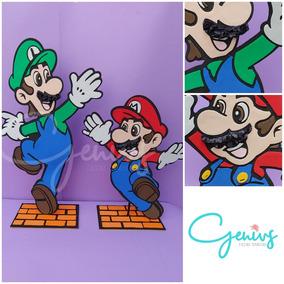 Pack 6 Centros De Mesa Mario Bros Y Luigi