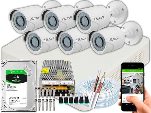 Kit Cftv 6 Câmeras Full Hd 1080p 2mp Hilook Dvr-108g 10a 1tb