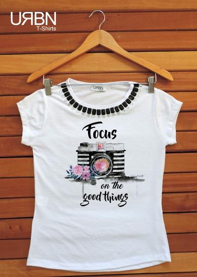 Camiseta Feminina Blusa Listrada Maquina Fotografica 2019