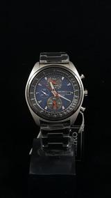 Relógio Seiko Cronógrafo Mostrador Azul Index Prata