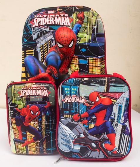 Kit Mochila Maleta Escaladora Escolar 3d Spiderman