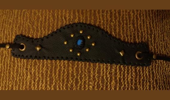 Bracelete Viking Tribal Couro Pedra Da Lua Opalina Artesanal