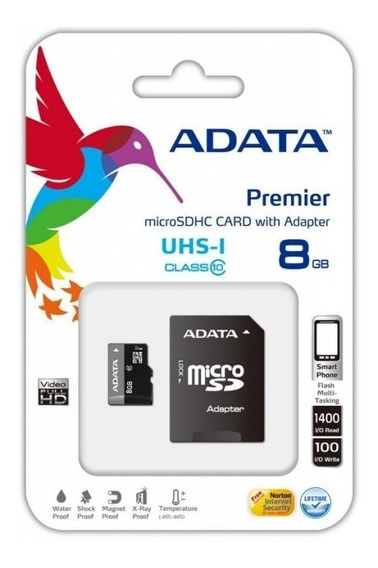 Cartao Micro Sd A-data 8gb + 1 Adpt. Class 10 Pn #