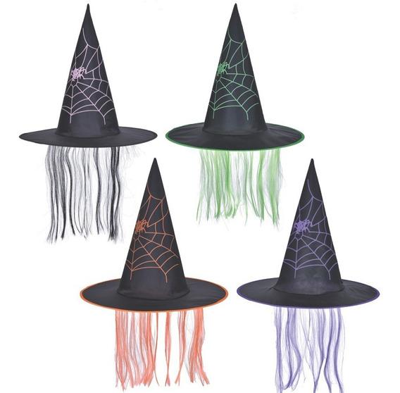 Sombrero Bruja Negro Con Pelo - Halloween Disfraz