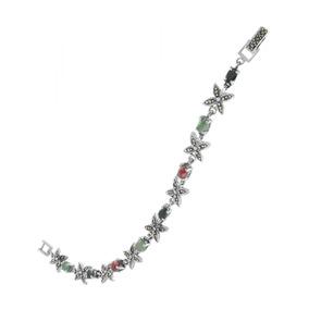Pulseira Em Prata 925 Com Rubi, Safira E Esmeralda