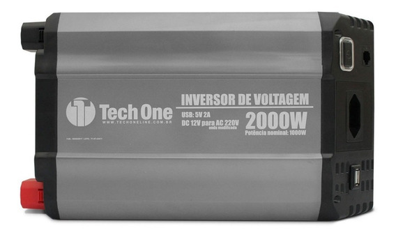 Inversor De Potência Tech One 1500w 12v Para 220v - Tomada