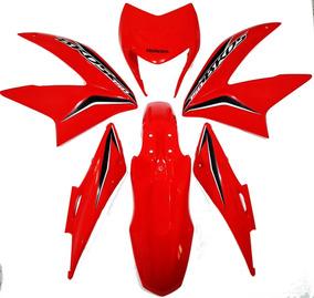 Kit Carenagem Nxr 150 Bros 2013 Vermelha C-adesivo