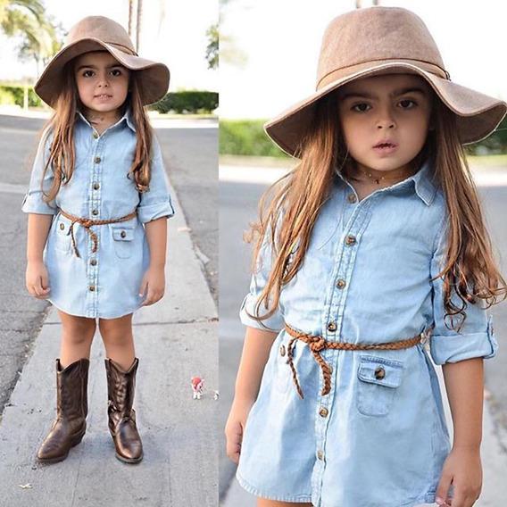 Infantil Menina Vestido De Manga Longa Primavera Camisa Casual Praia Vestidos Jeans Idade 4 Anos A Pronta Enrega